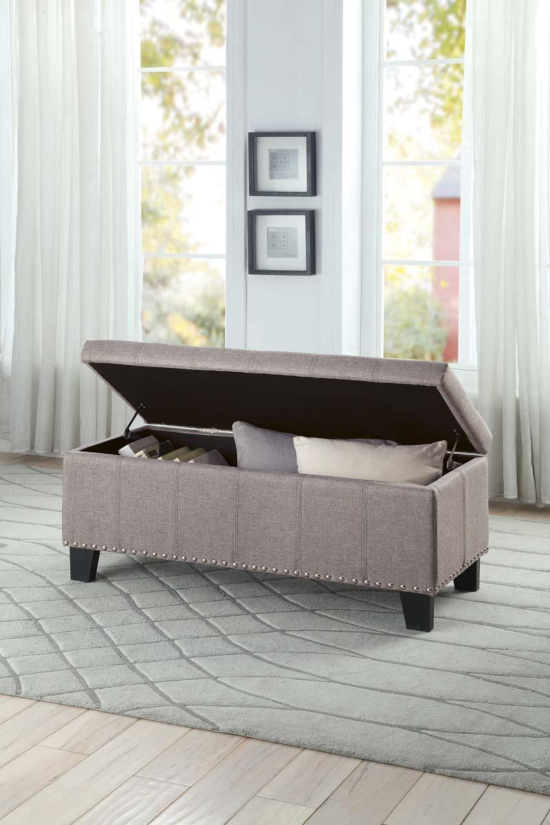 Homelegance Fedora Lift Top Storage Bench - Grey