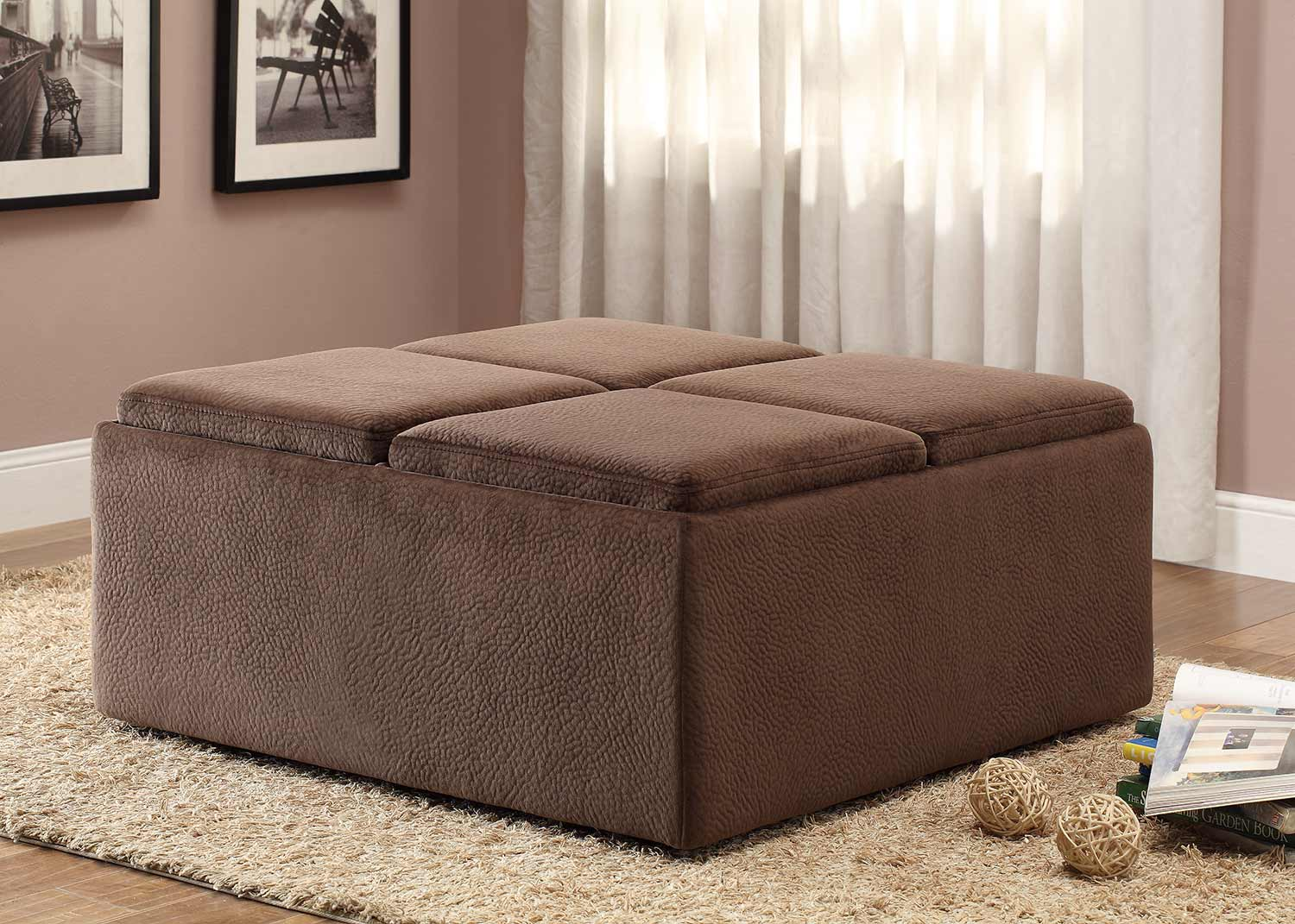 Homelegance Kaitlyn Cocktail/Coffee Ottoman with Casters for Easy Mobility - Chocolate Textured Plush Microfiber