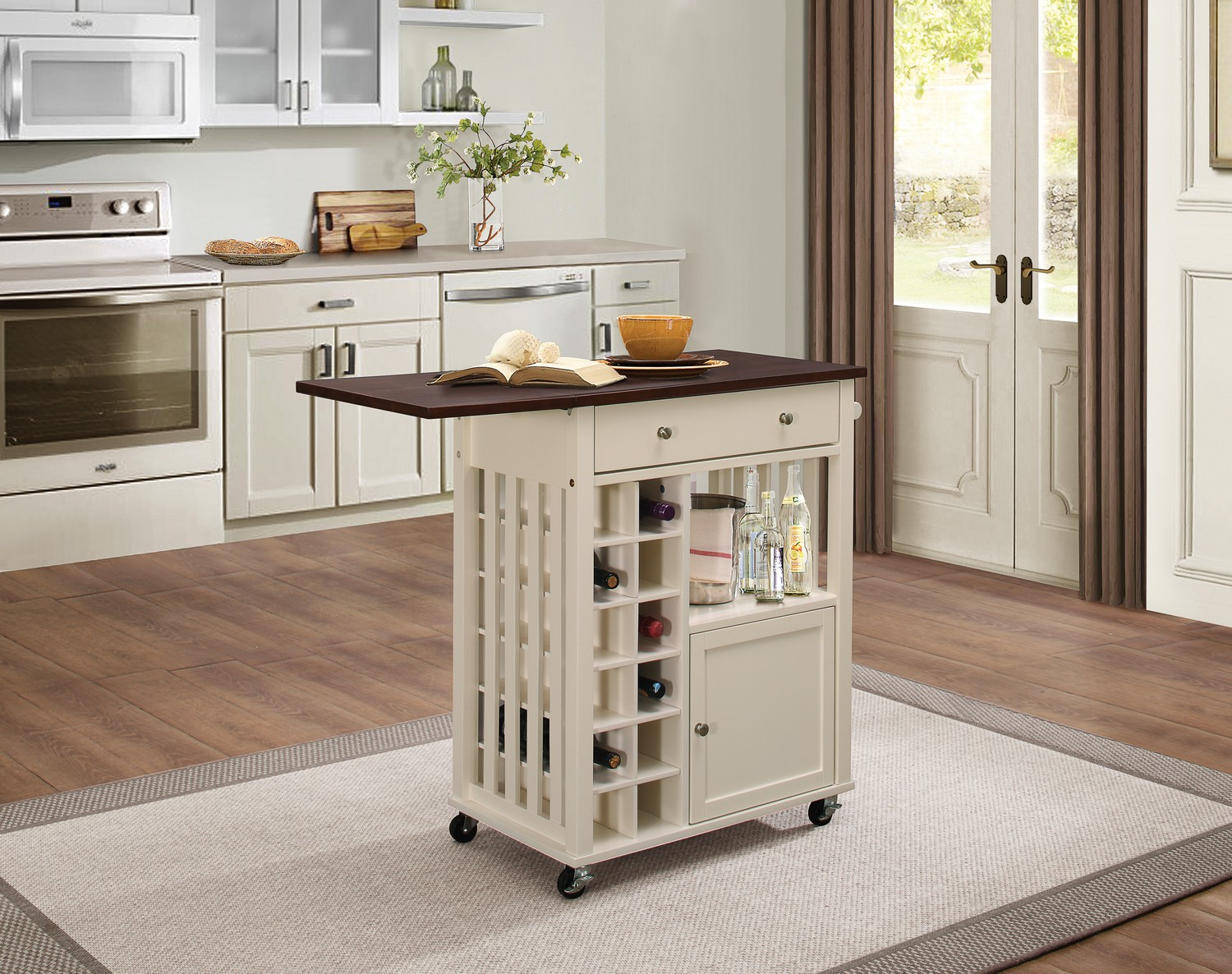 Homelegance Canela Kitchen Cart With Drop Leaf And Casters