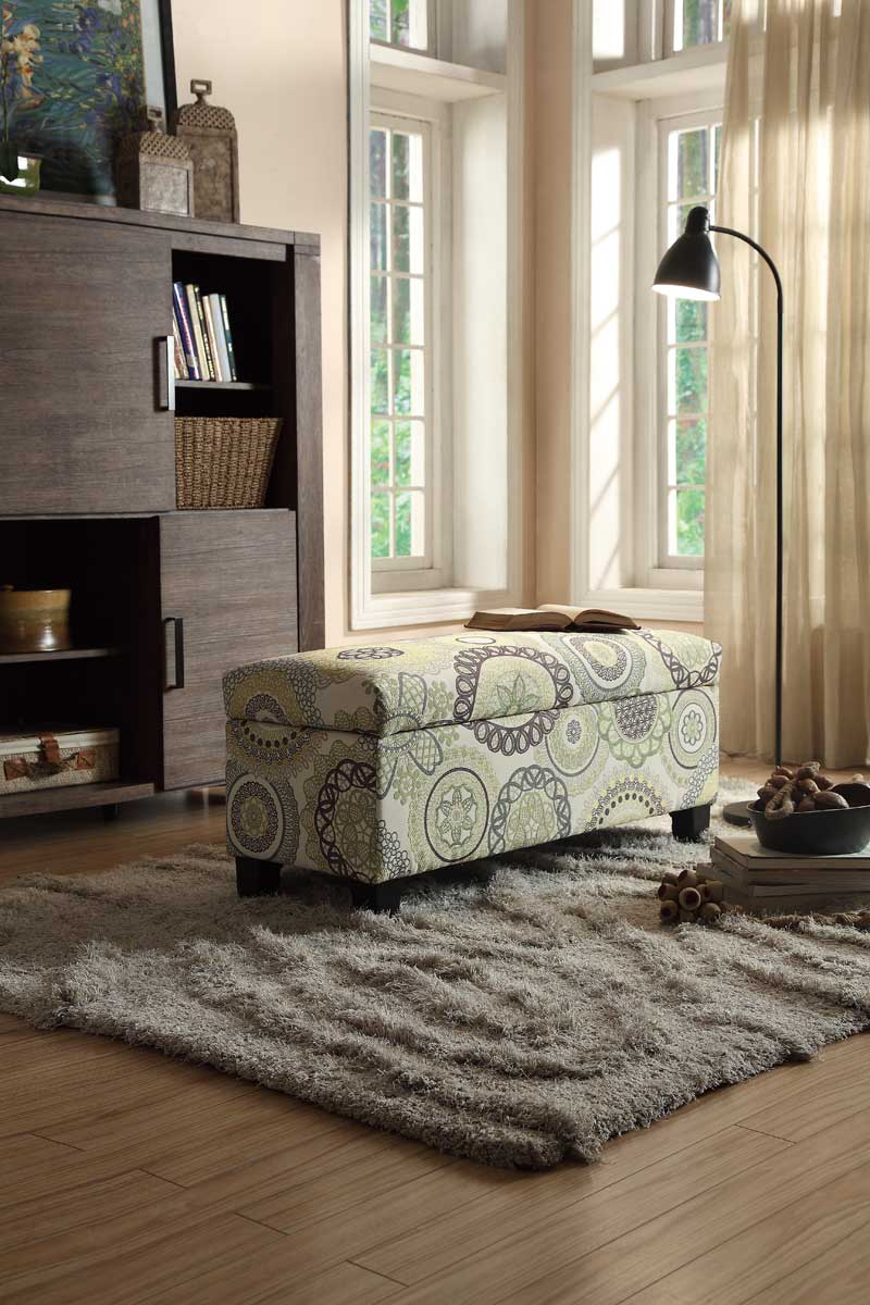 Homelegance Claire Lift Top Storage Bench - Floral Fabric