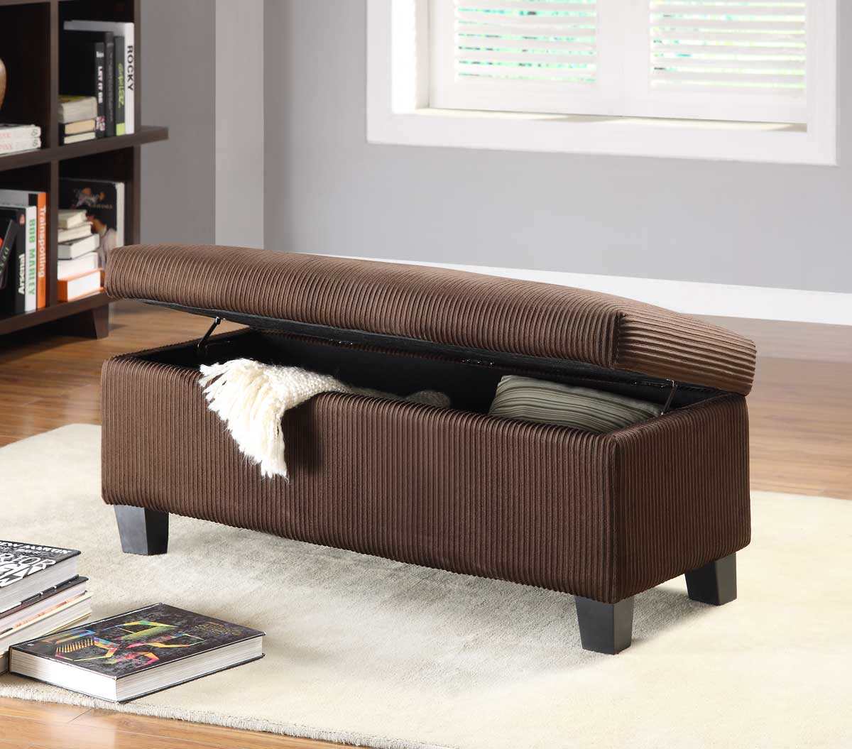 Homelegance Clair Lift Top Storage Bench Ottoman   Chocolate Corduroy