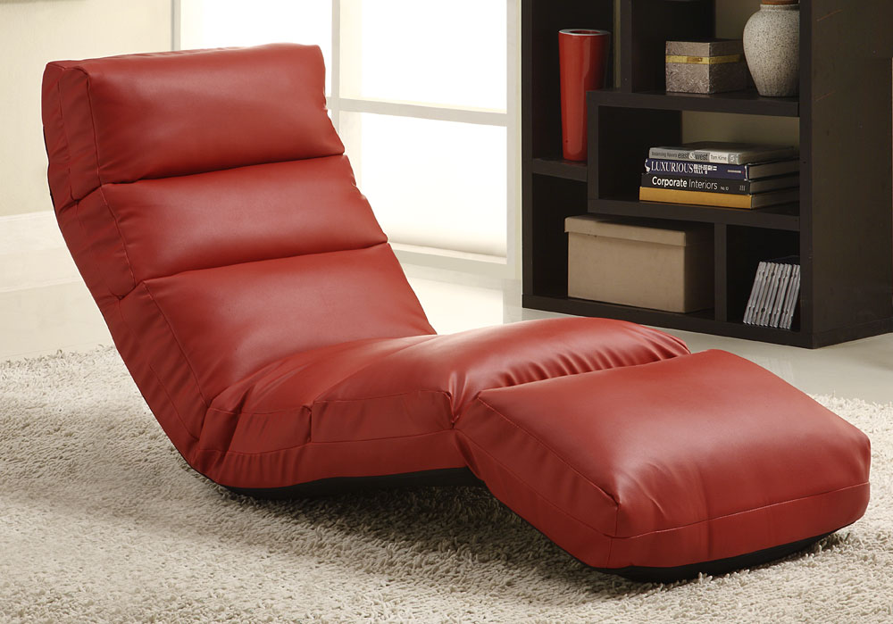 Homelegance gamer floor lounger chair red leatherette for Floor furniture