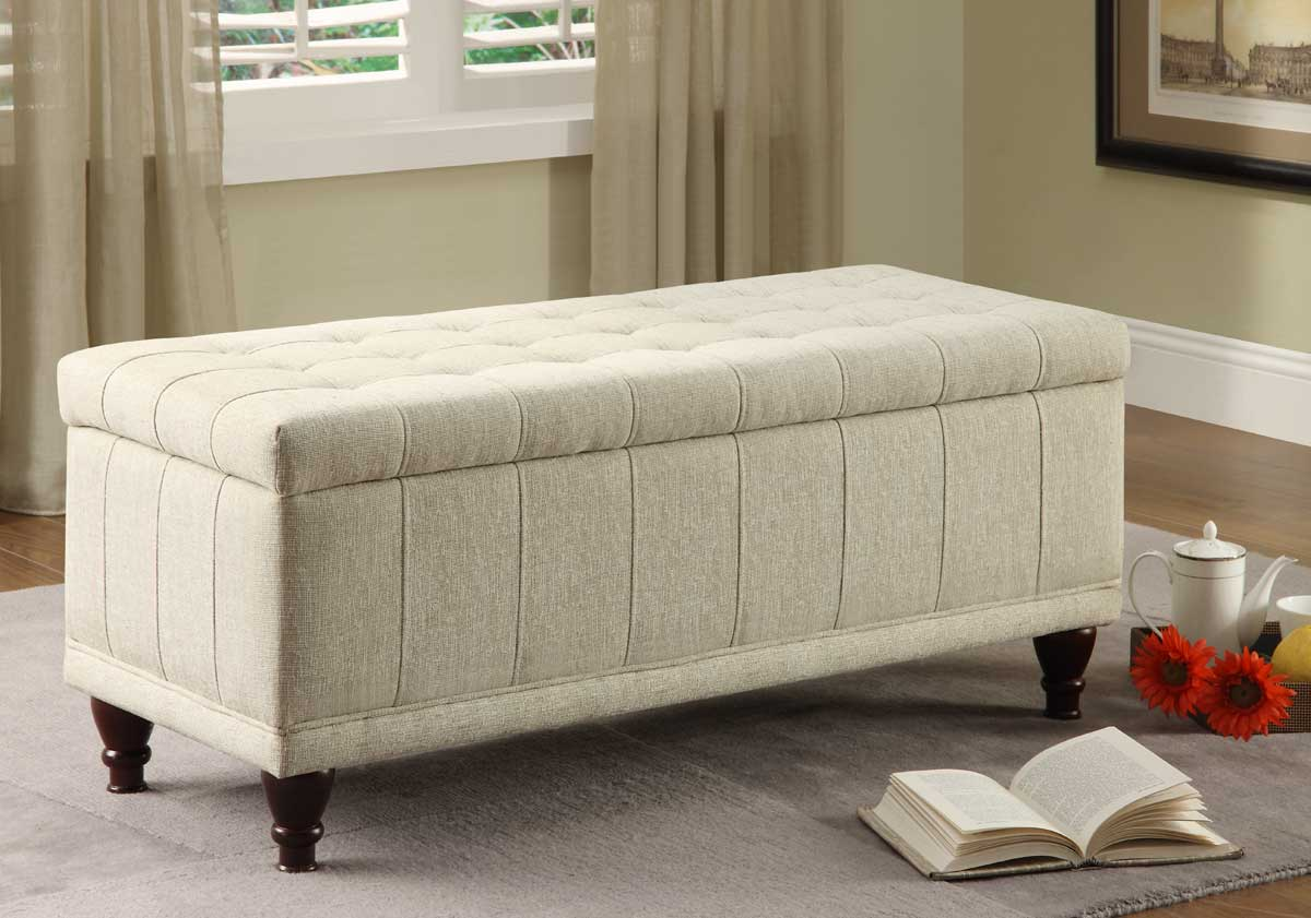 homelegance afton lift top storage bench ottoman cream fabric 4730nf. Black Bedroom Furniture Sets. Home Design Ideas