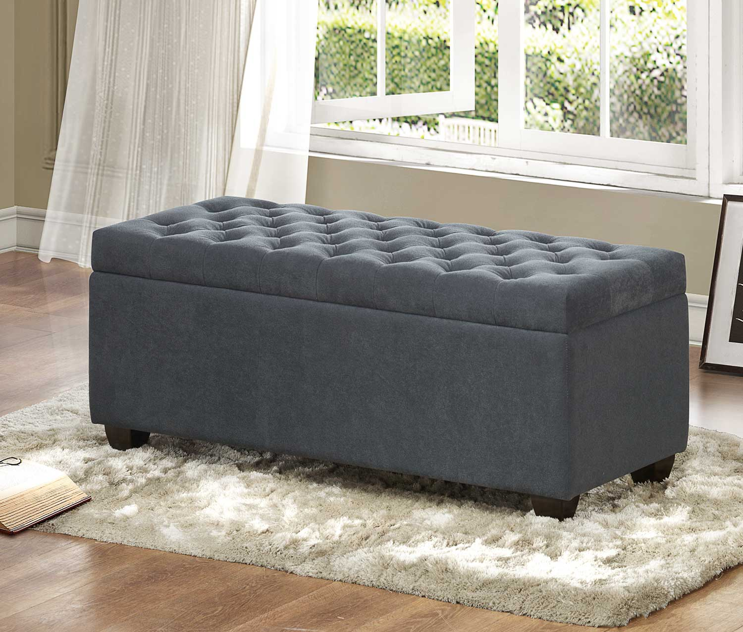 Homelegance Colusa Lift Top Storage Bench Neutral Grey Fabric 4741fa