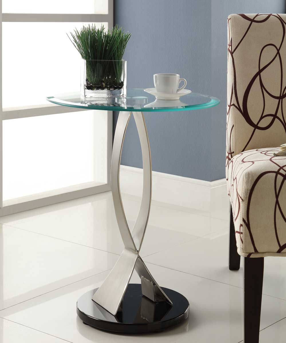Homelegance Galaxy Round Chairside Table - Brushed Chrome