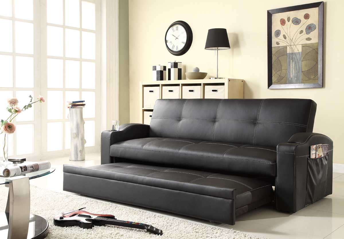 Homelegance Novak Elegant Lounger Sofa With Pull Out Trundle