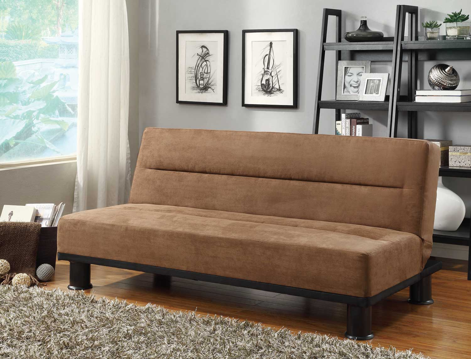 Homelegance Callie Click Clack Sofa Bed Brown Microfiber
