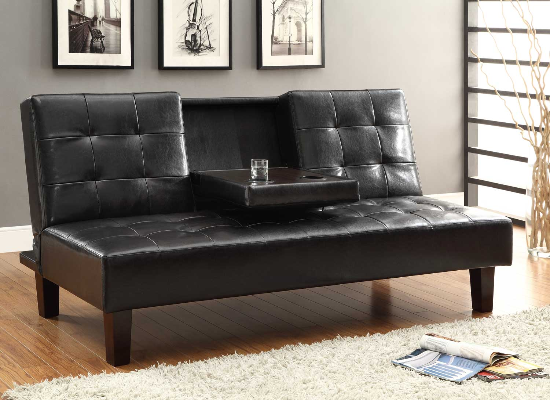 Homelegance Reel Click-Clack Sofa Bed - Dark Brown - Tufted Fronts