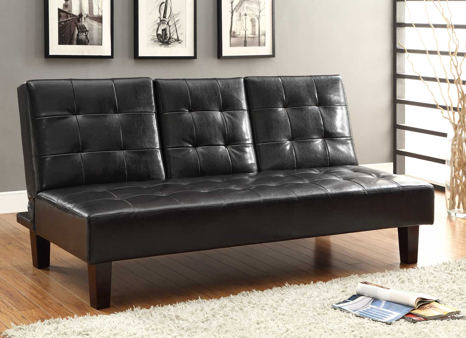 Homelegance Reel Click Clack Sofa Bed Dark Brown