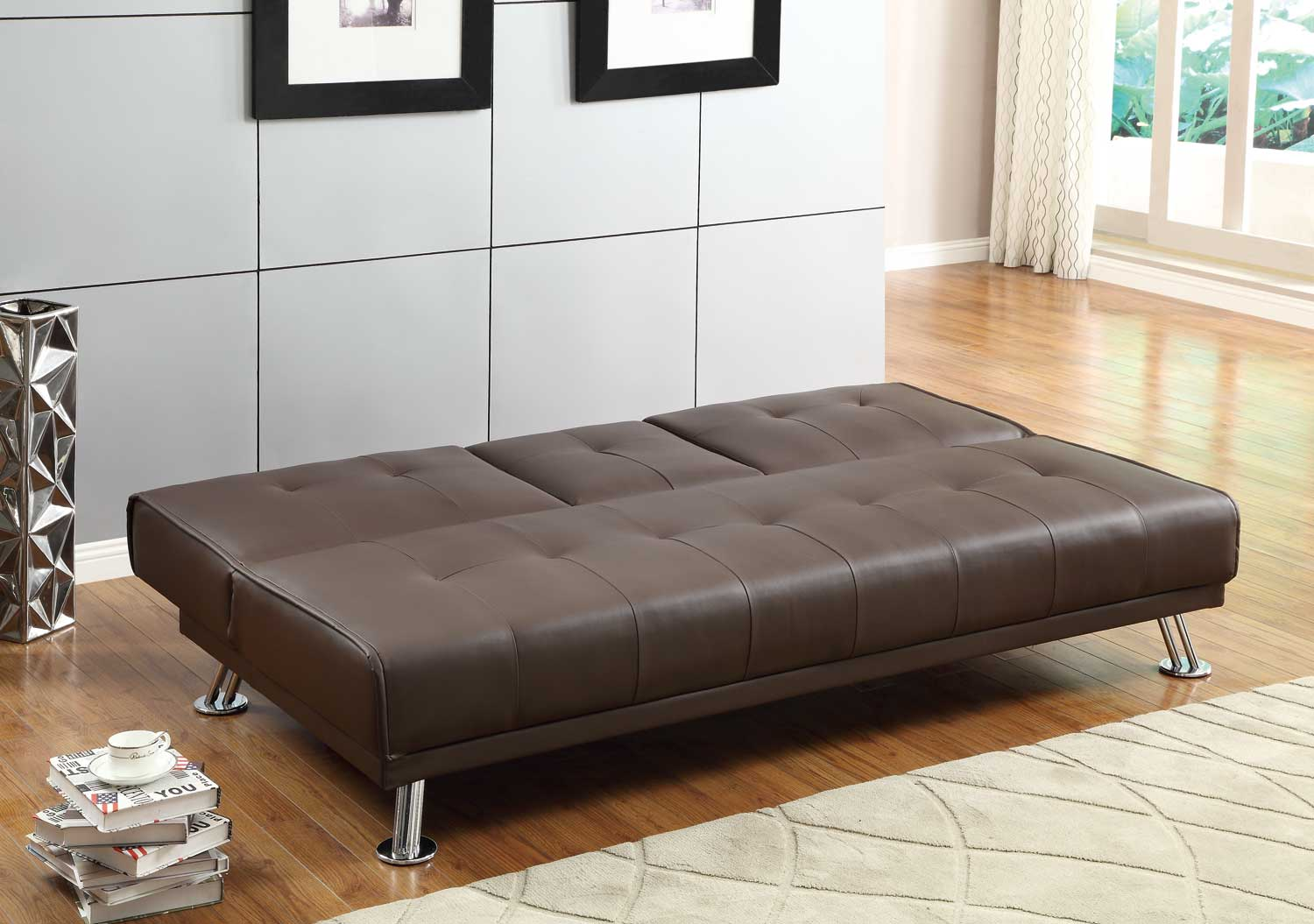 Homelegance Profile Click Clack Sofa Bed Brown Brown