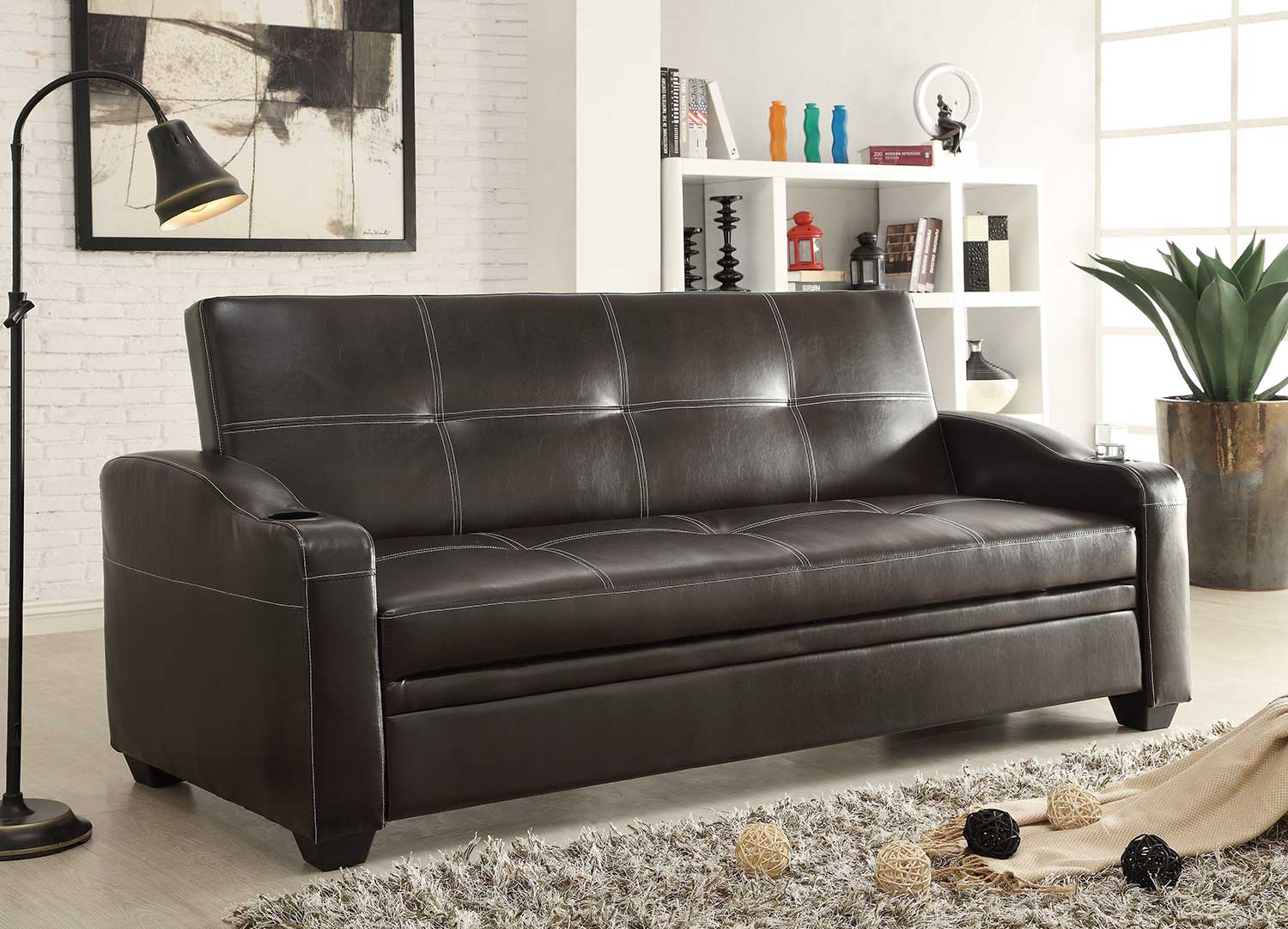 Homelegance Caffrey Elegant Lounger Sofa Bed Dark Brown