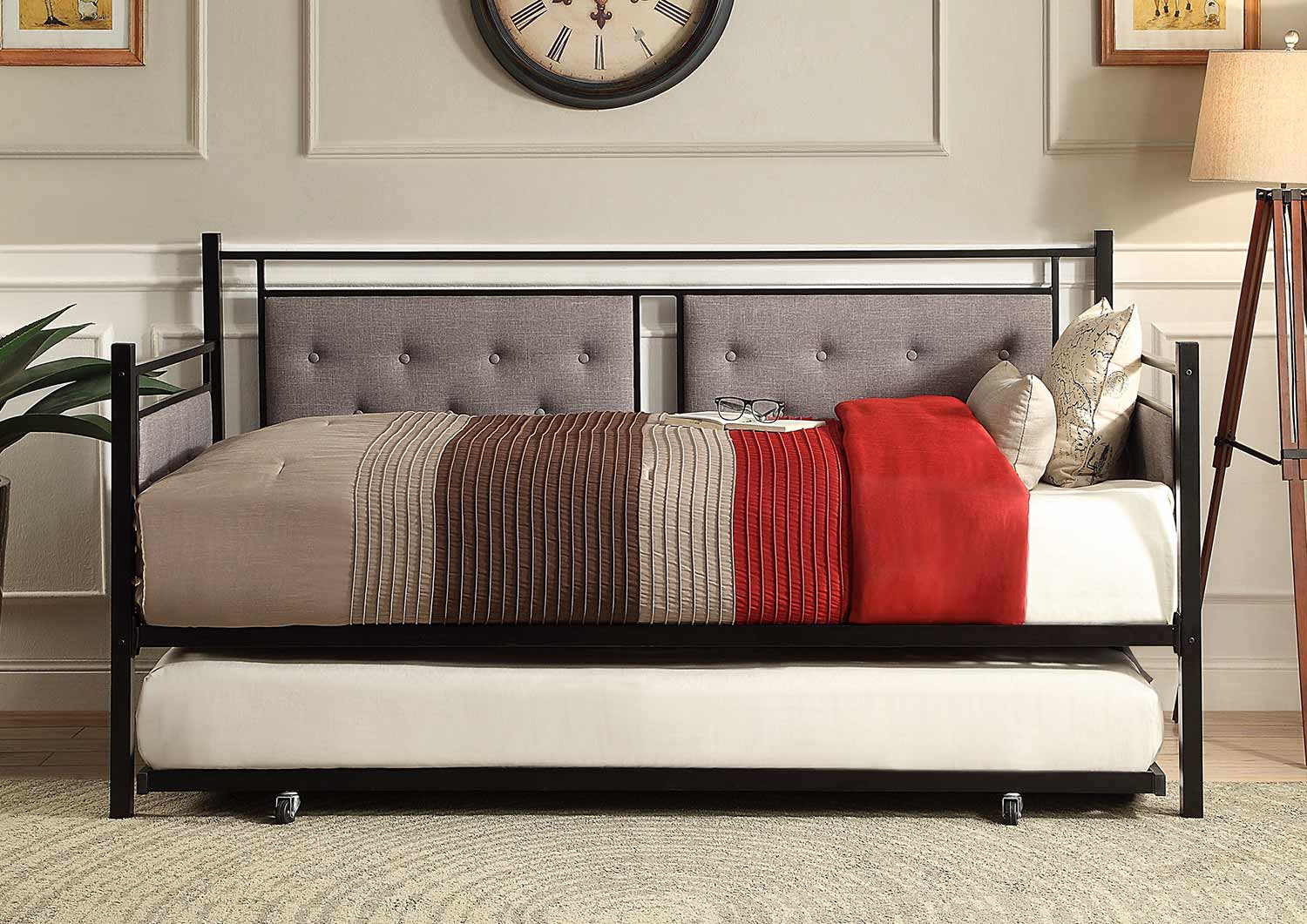 Homelegance Octavia Button Tufted Upholstered Metal Daybed with Trundle - Black-Grey