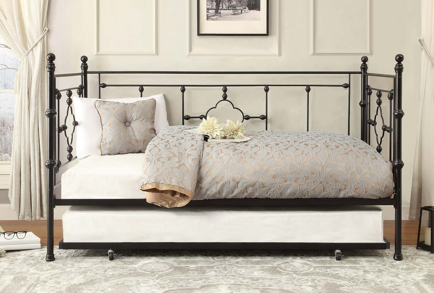 Homelegance Auberon Metal Daybed with Trundle - Black