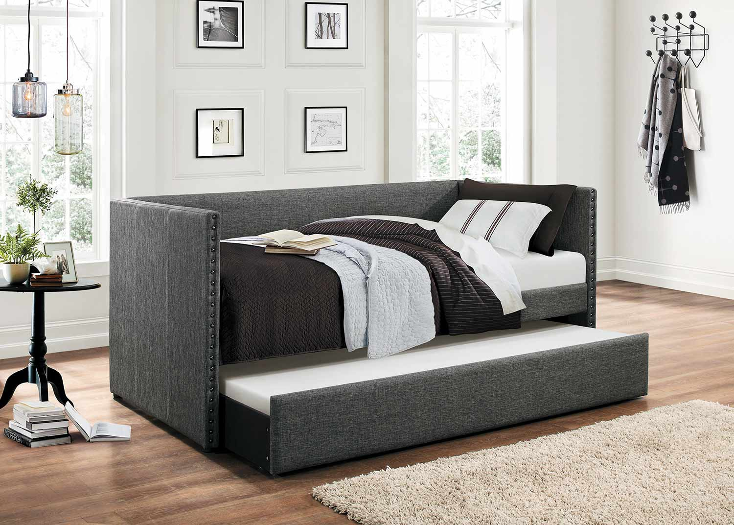 Homelegance Therese Upholstered Daybed with Trundle - Grey
