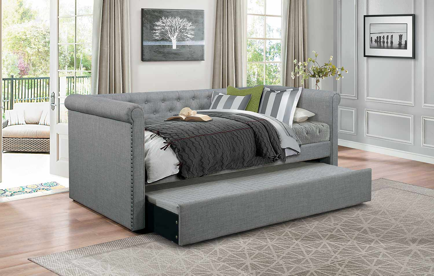 Homelegance Edmund Button Tufted Upholstered Daybed with Trundle - Gray