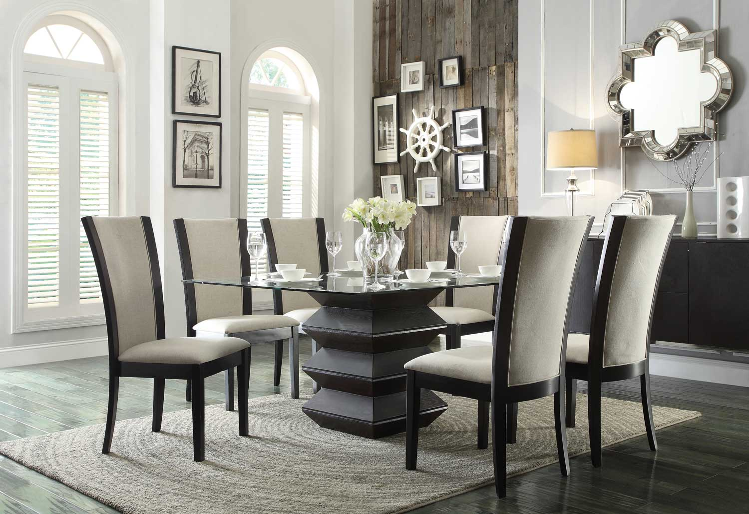 Homelegance Havre Dining Set Beige Fabric Chairs