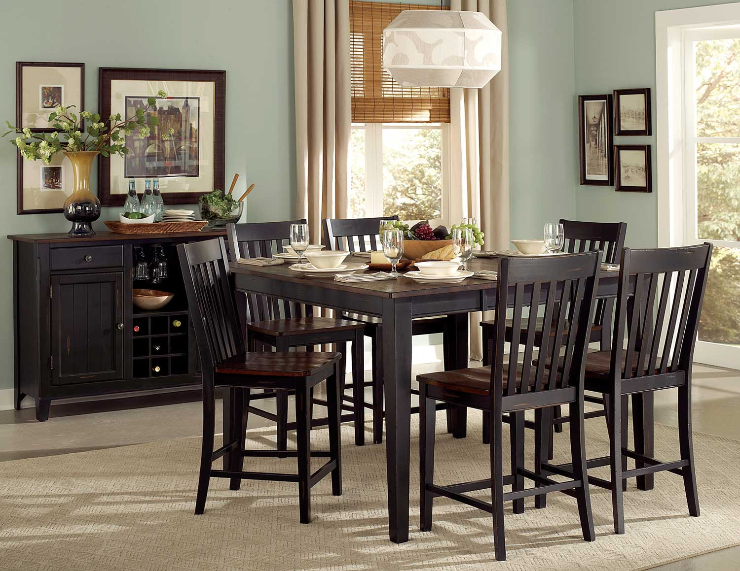 Homelegance Three Falls Counter Height Dining Set Two Tone Dark - Counter height table for two