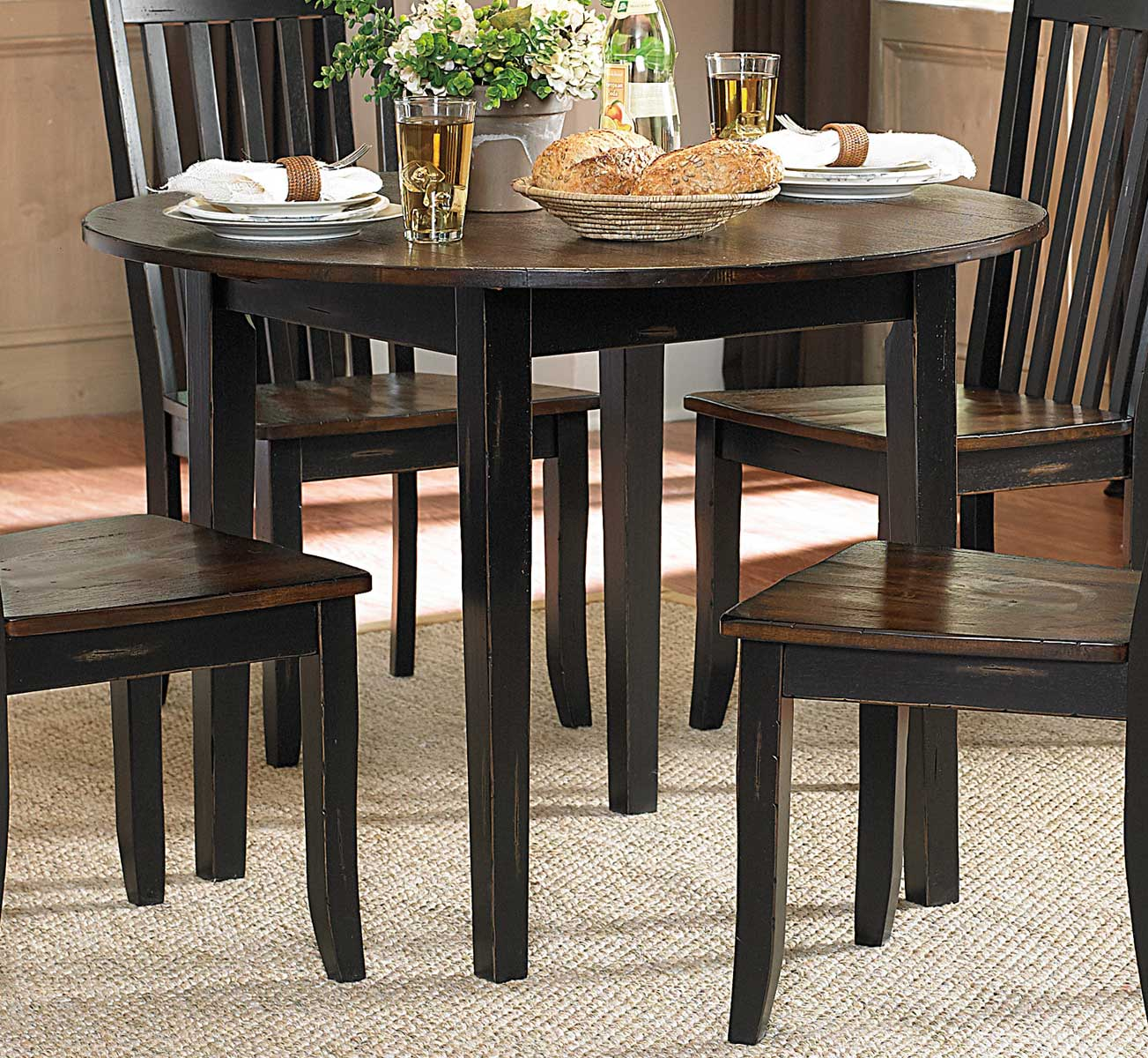 Homelegance Three Falls Round Dining Table With Drop Leaf   Two Tone Dark  Brown/Black