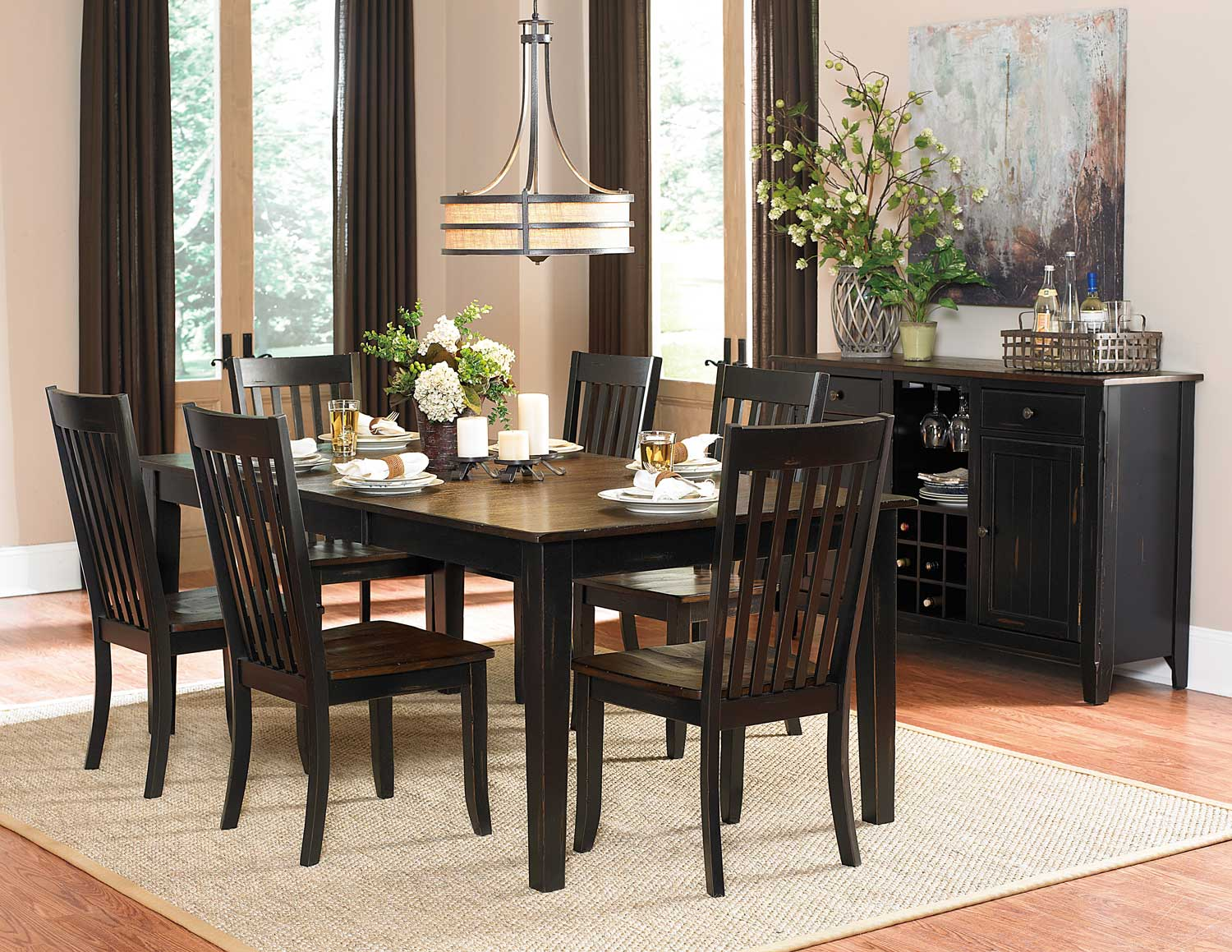 Homelegance Three Falls Rectangular Dining Set   Two Tone Dark Brown/Black  Sand