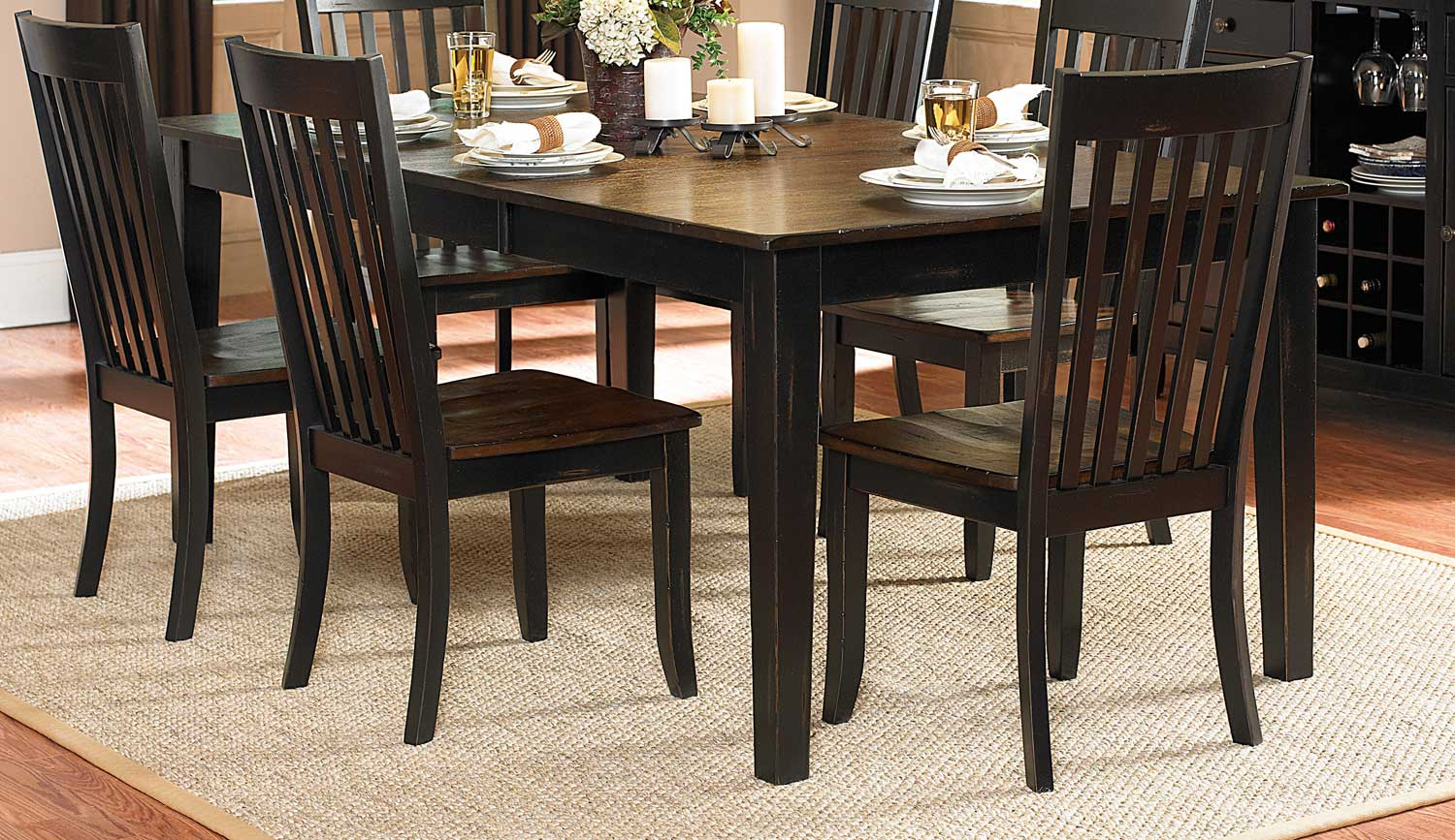 Homelegance Three Falls Rectangular Dining Table   Two Tone Dark  Brown/Black Sand Part 44