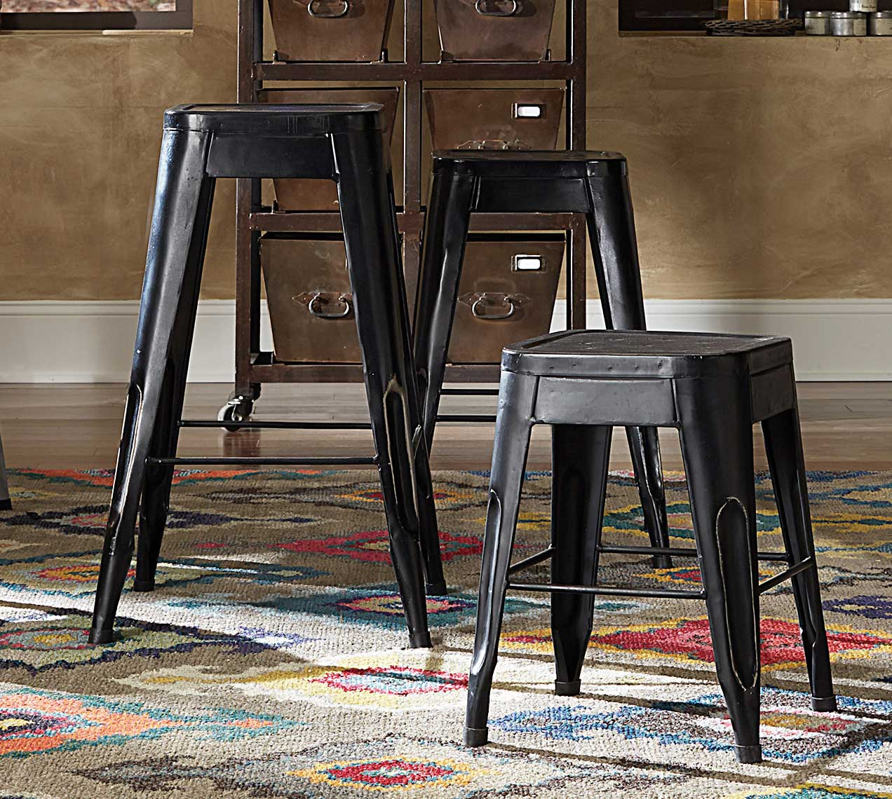 Homelegance Amara 18in Metal Stools - Black