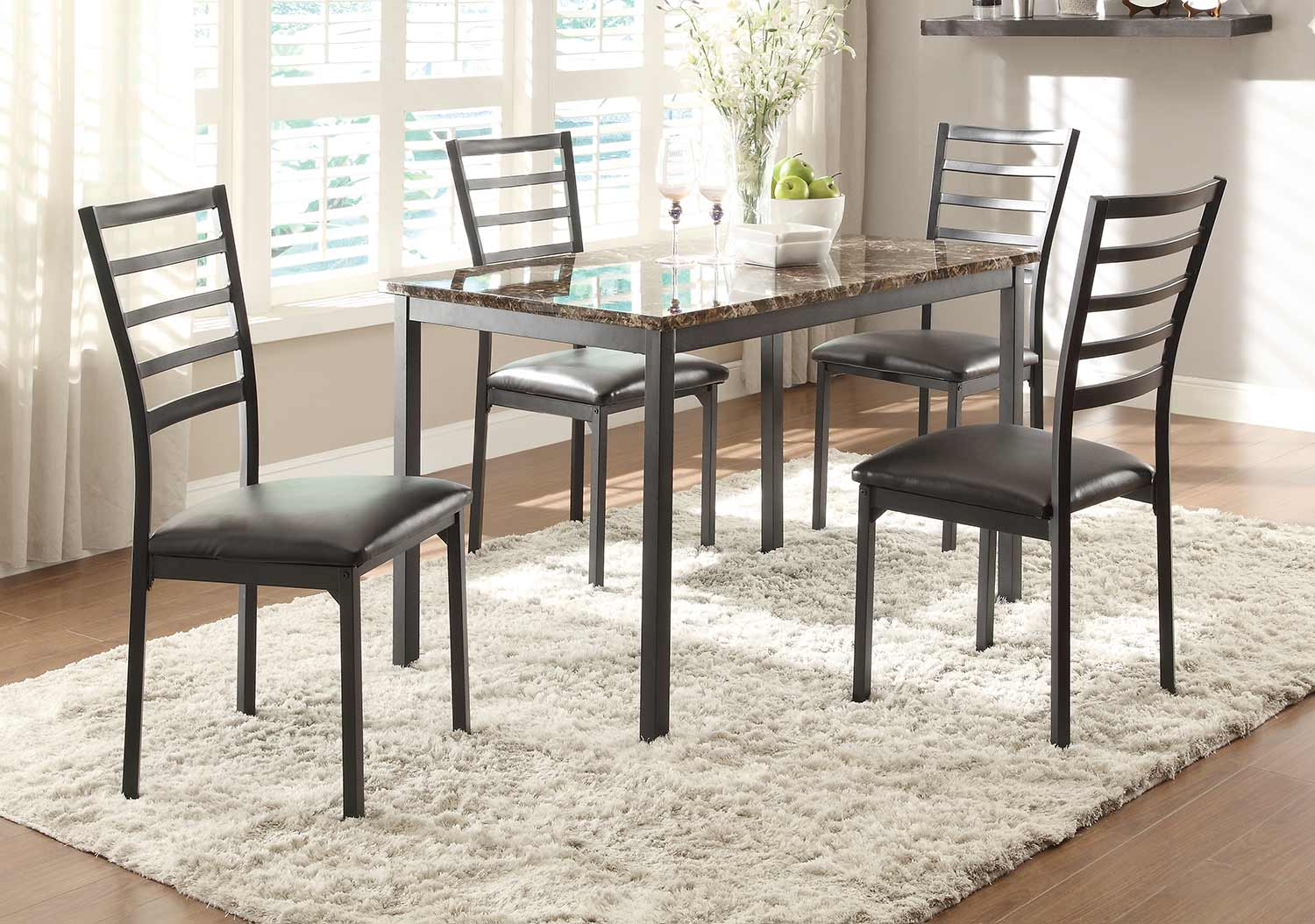 Homelegance Flannery Dining Set   Black Metal