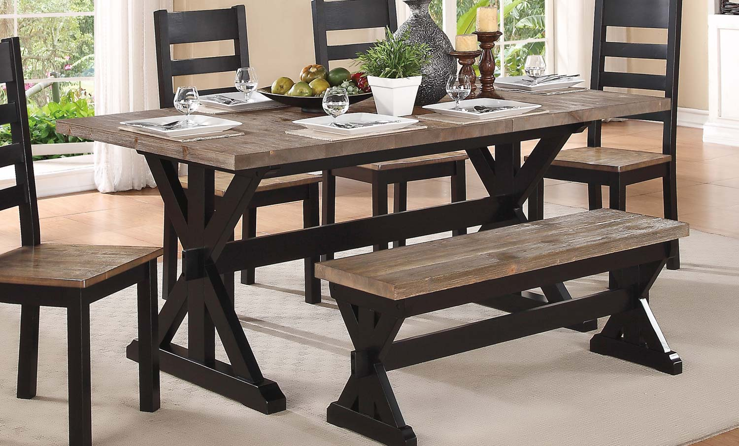 Homelegance North Port Trestle Dining Table   Two Tone Black/Brown Part 10