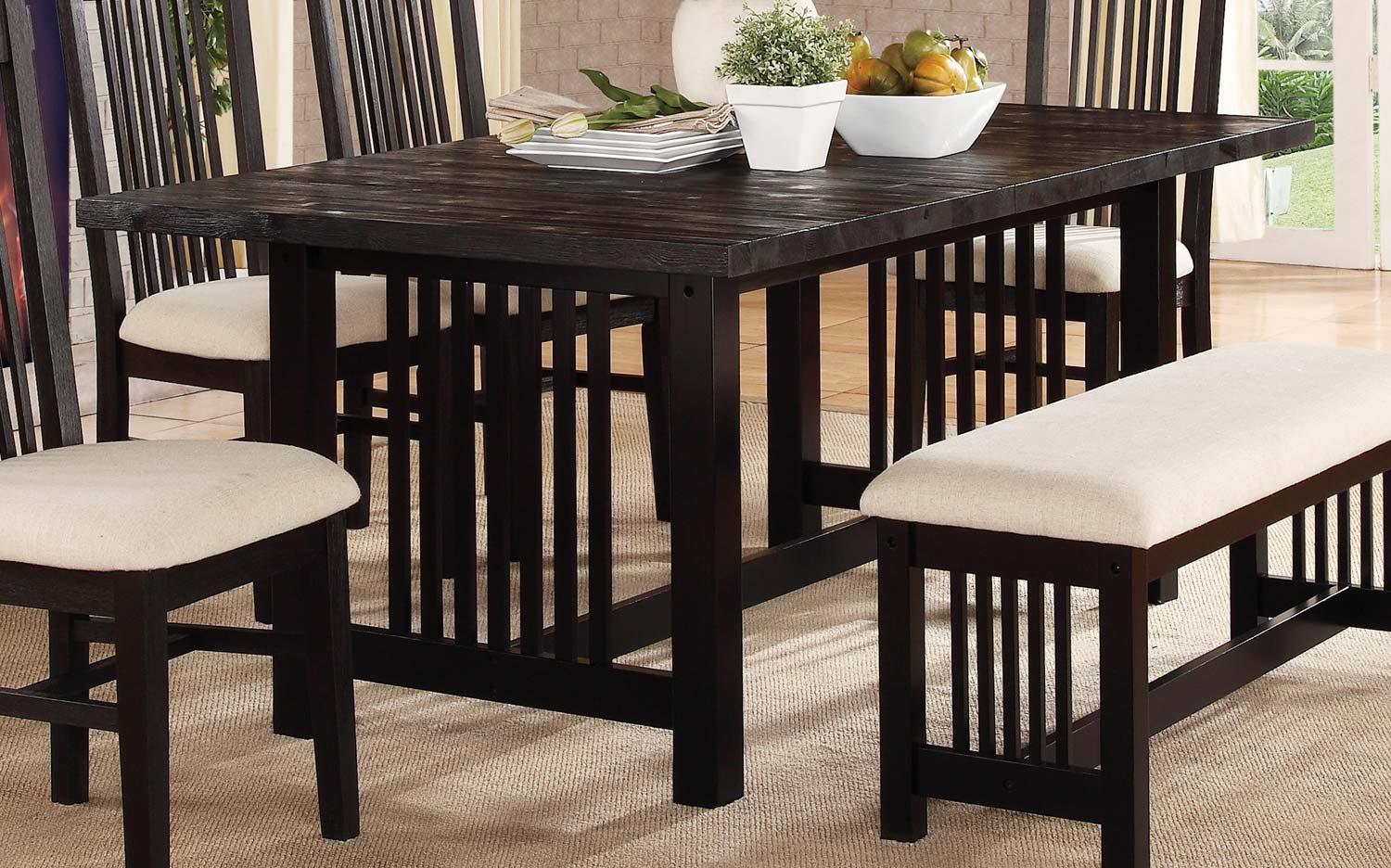 Homelegance Irrington Trestle Dining Table Black Driftwood - 72 trestle dining table
