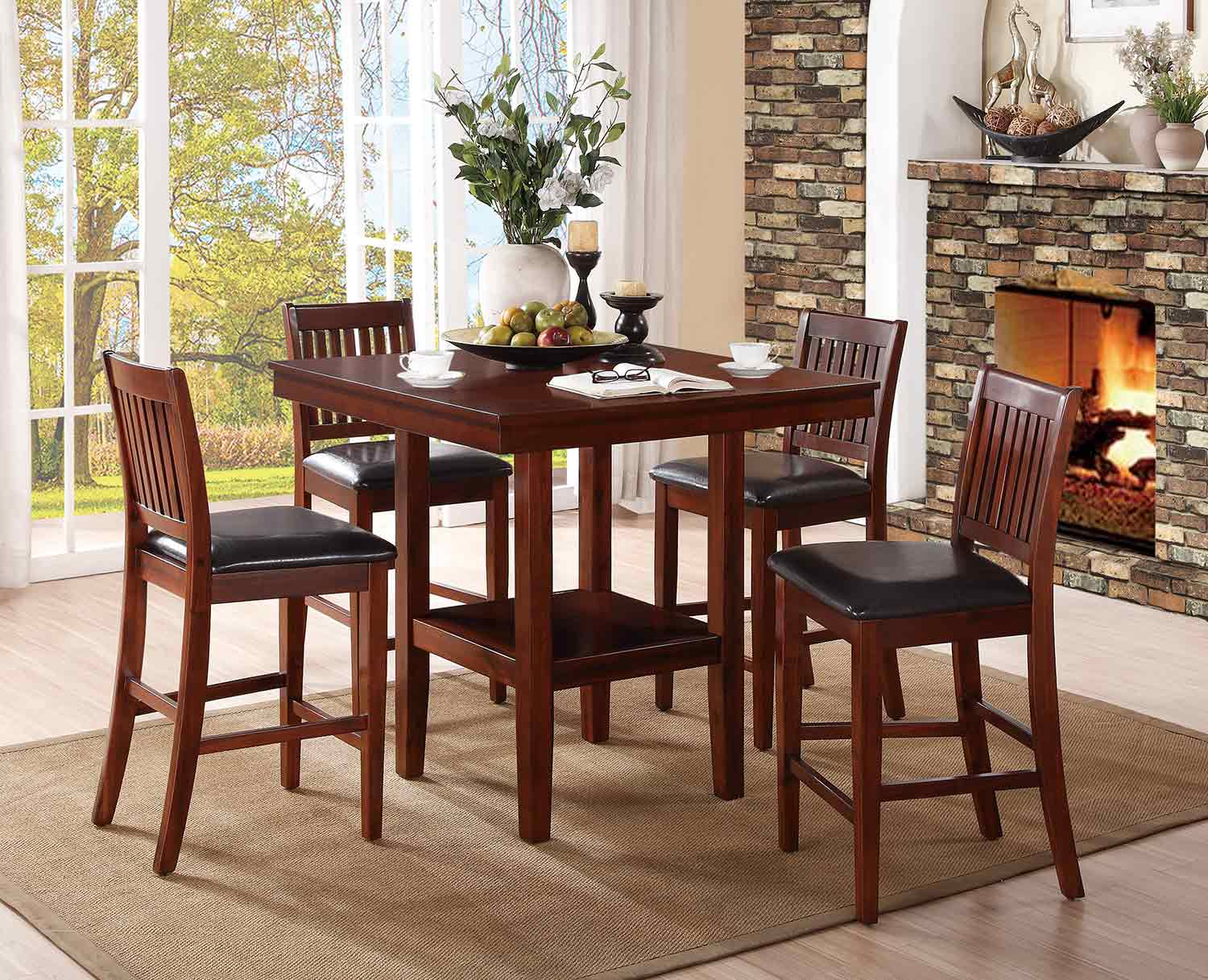 Homelegance Galena 5-Piece Pack Counter Height Dining Set - Warm Cherry