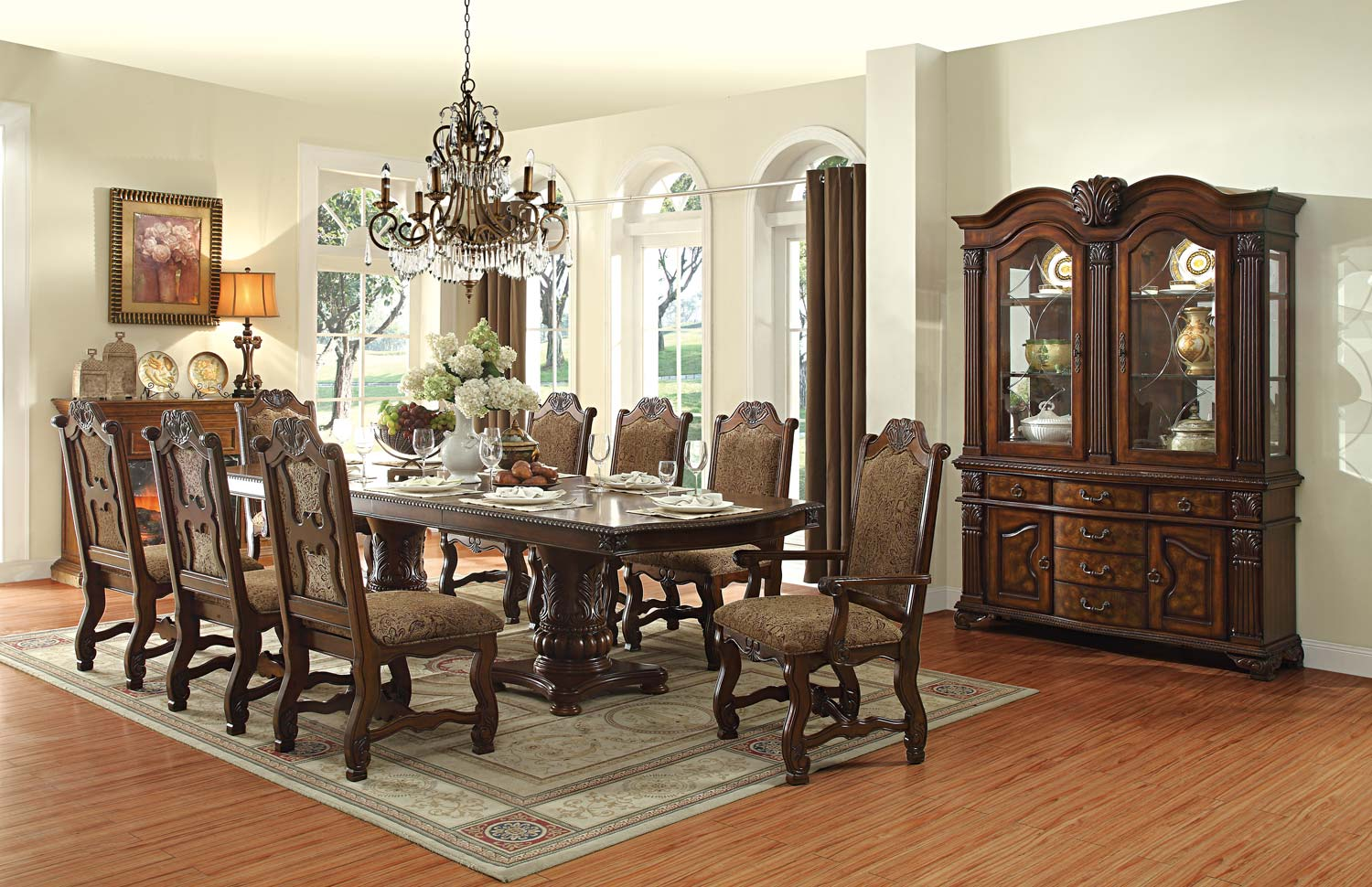 Homelegance Thurmont Double Pedestal Dining Set  Cherry