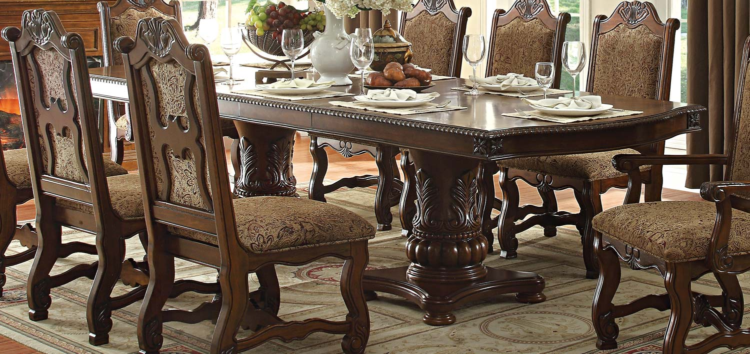 Homelegance Thurmont Double Pedestal Dining Table Cherry