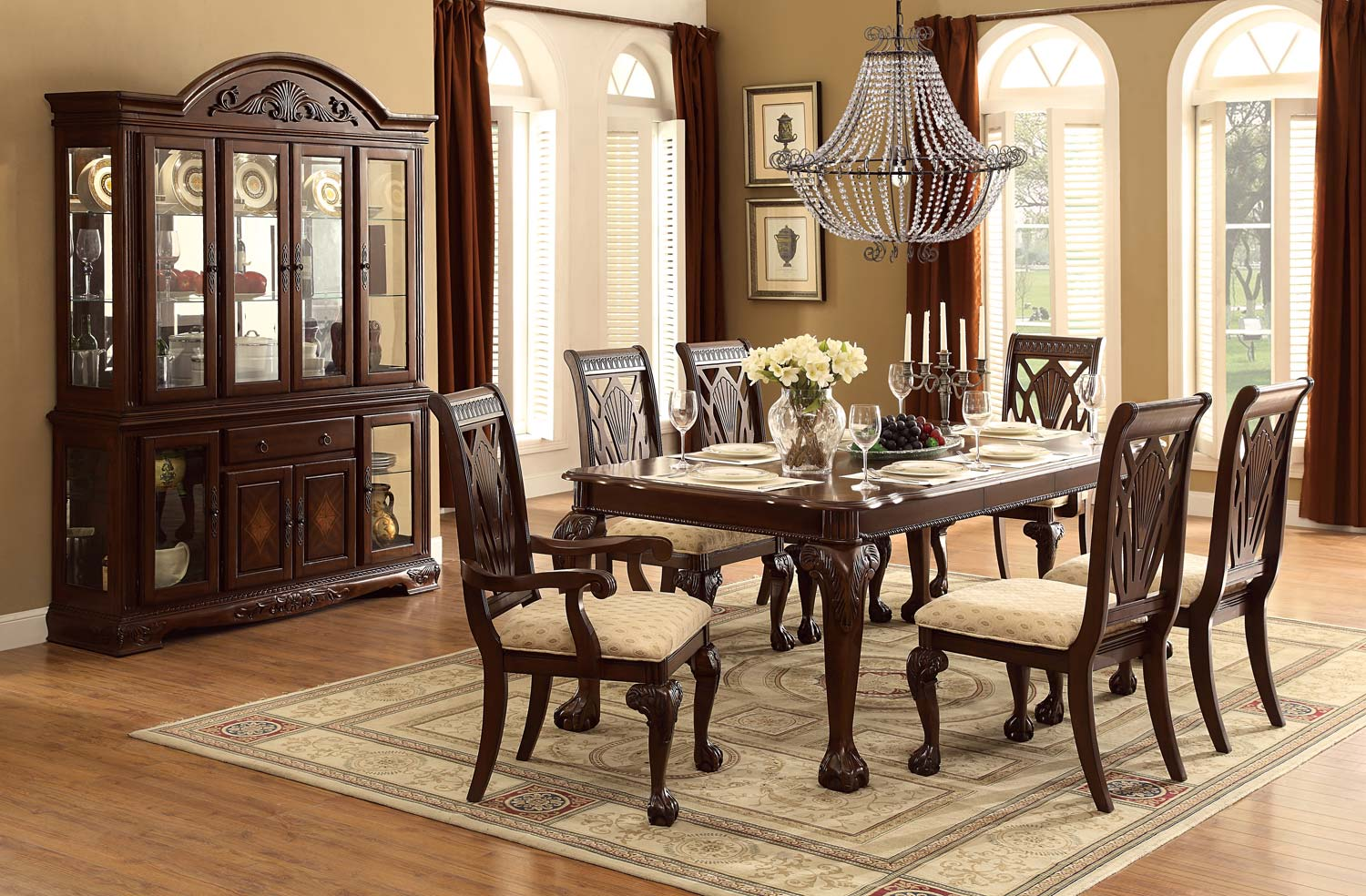 Homelegance Norwich Leg Dining Table Set   Beige Fabric   Warm Cherry