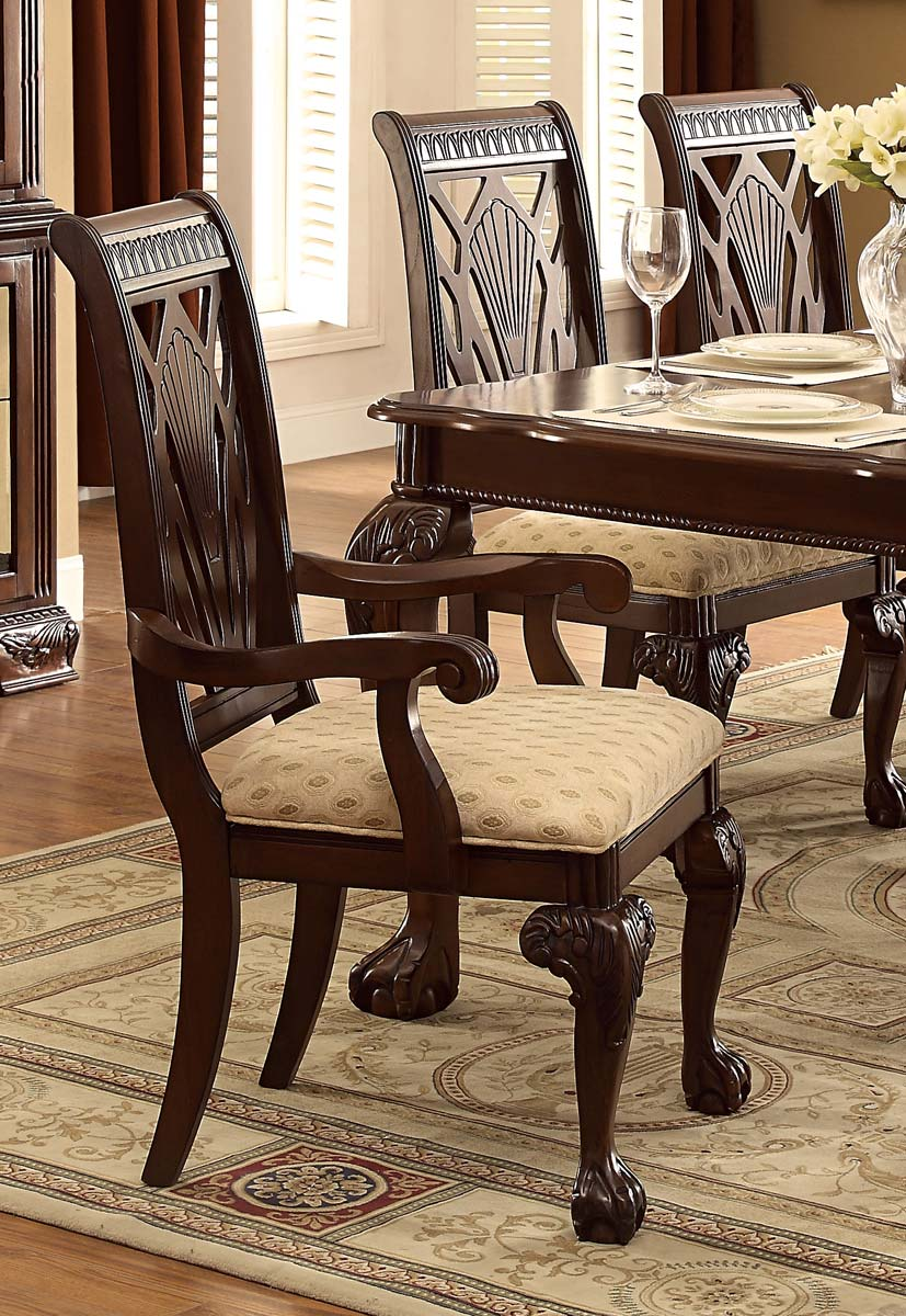 Homelegance Norwich Arm Chair - Beige Fabric - Warm Cherry