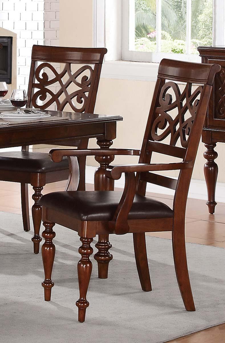 Homelegance Creswell Arm Chair - Dark Brown Bi-Cast Vinyl - Rich Cherry
