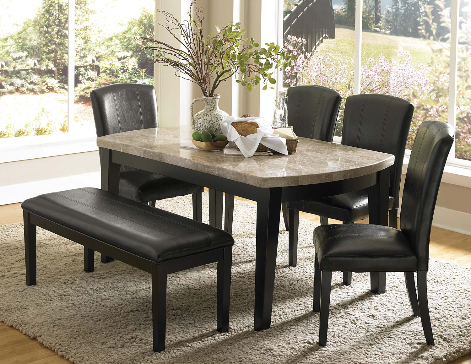 Homelegance Cristo Dining Set - Black Wood - Marble Top