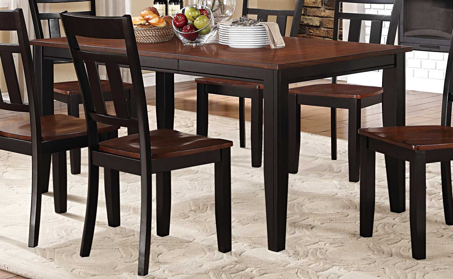 homelegance westport dining set - two tone black/cherry 5079bk-66