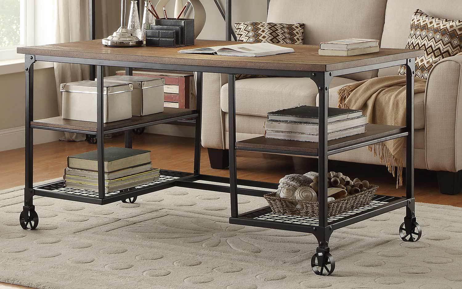 Homelegance Millwood Writing Desk - Weathered Wood Table Top with Metal Framing
