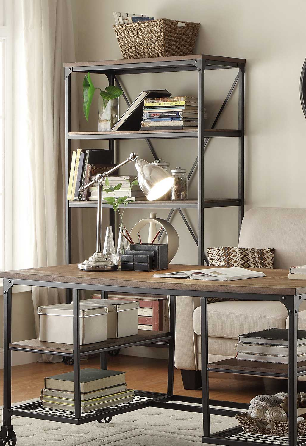 Homelegance Millwood 40W Bookcase - Weathered Wood Table Top with Metal Framing