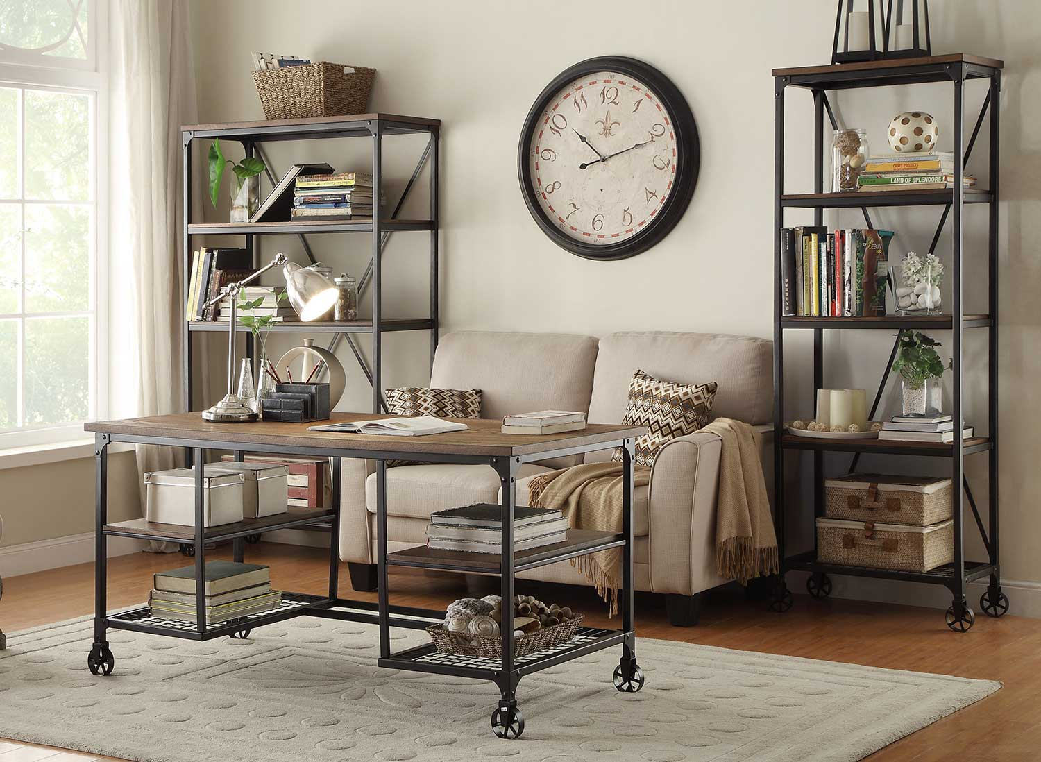 Homelegance Millwood Entertaiment Center Set - Weathered Wood Table Top with Metal Framing