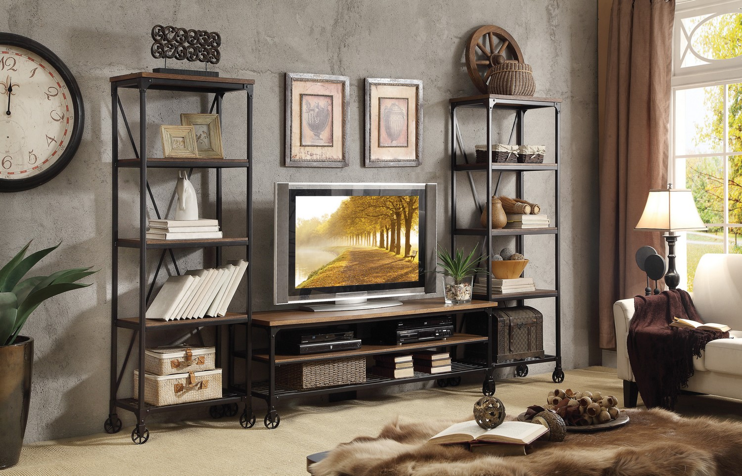 Homelegance Millwood Entertainment Center Set - Distressed ash veneer