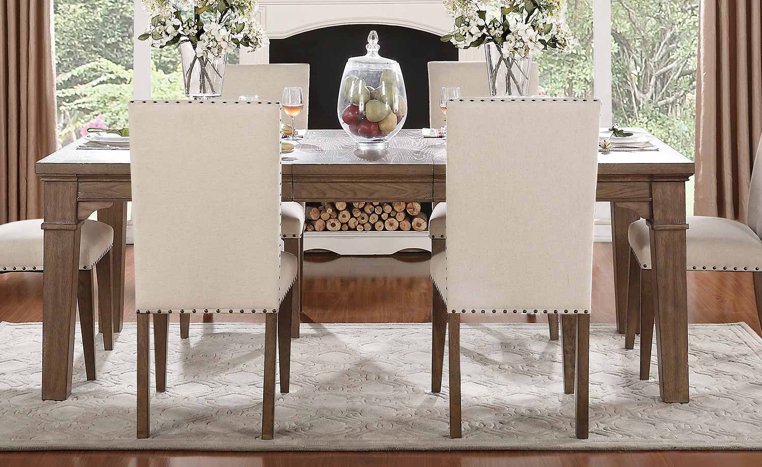 Homelegance Mill Valley Leg Dining Table - Weathered Wash