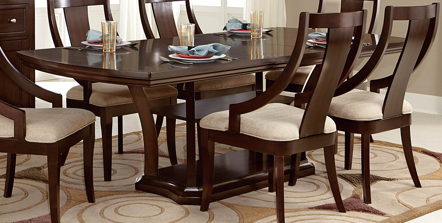 homelegance aubriella pedestal dining set cherry 5115 dining set. Black Bedroom Furniture Sets. Home Design Ideas