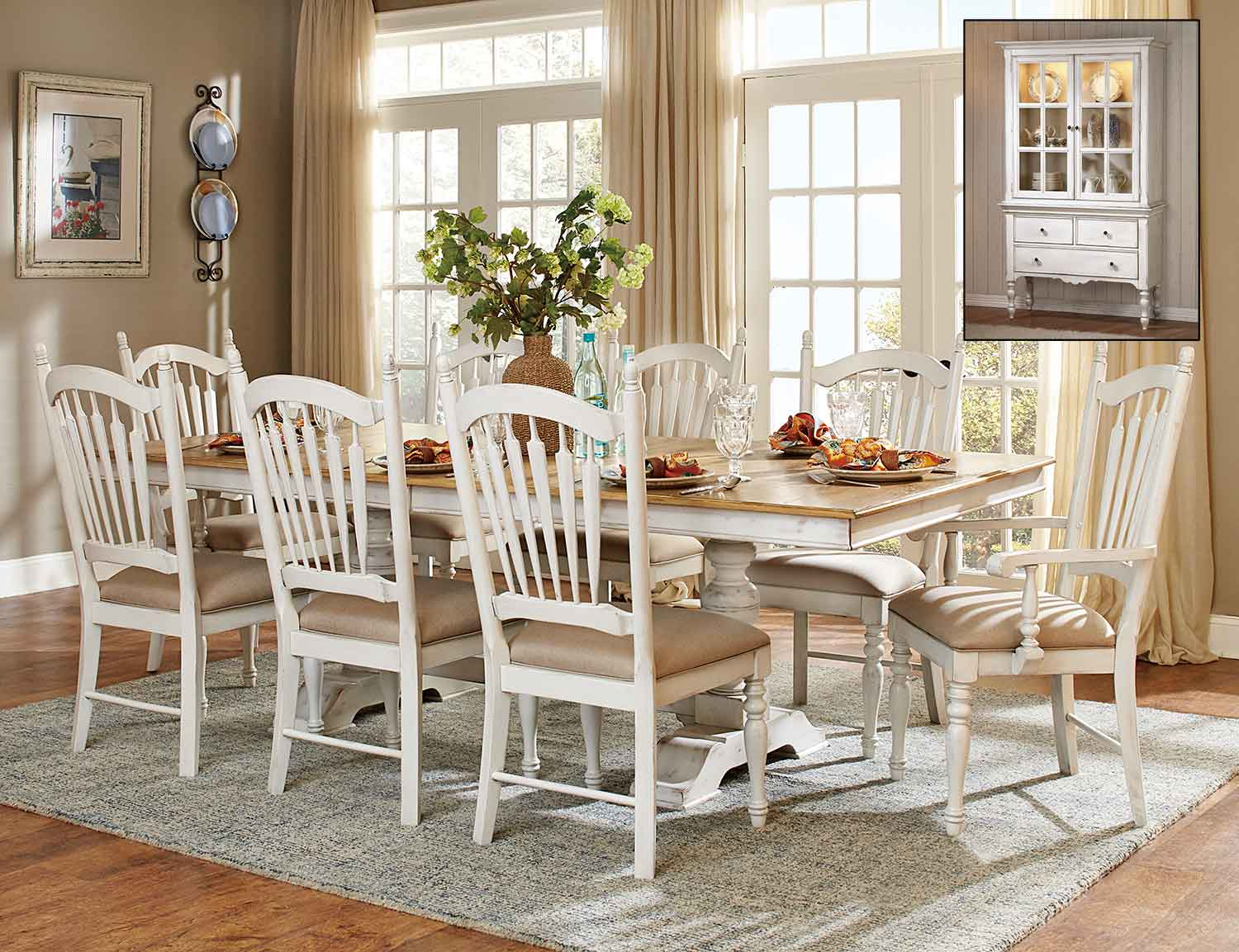 Homelegance Hollyhock Trestle Pedestal Dining Set - Distressed White/Oak