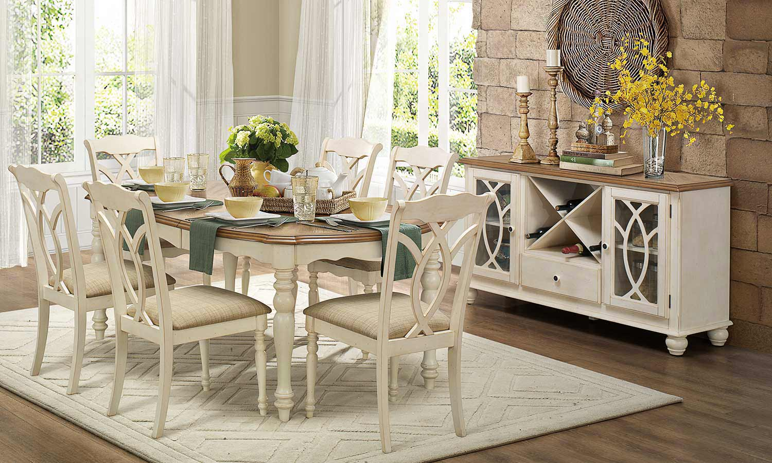 Homelegance Azalea Dining Set - Antique White - Homelegance Azalea Dining Set - Antique White 5145-Dining-Set