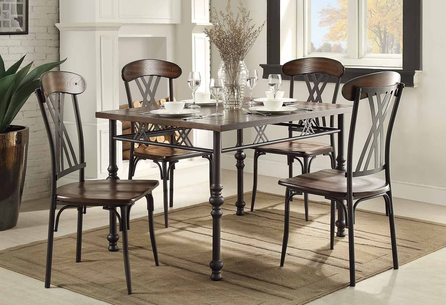 Homelegance Loyalton Dining Set   Wood/Metal
