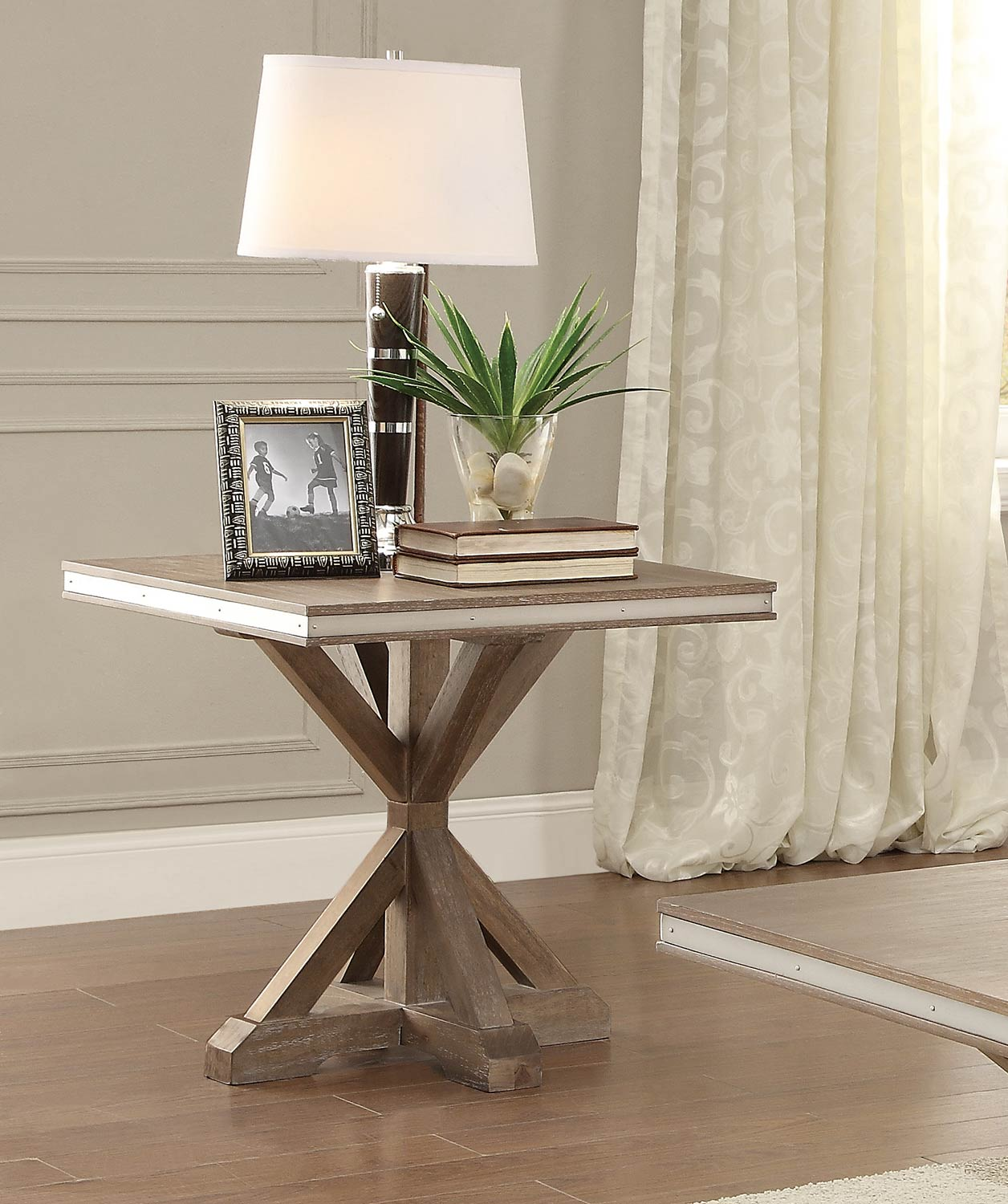 Homelegance Beaugrand End Table   Light Brown With Stainless Steel Apron  Banding