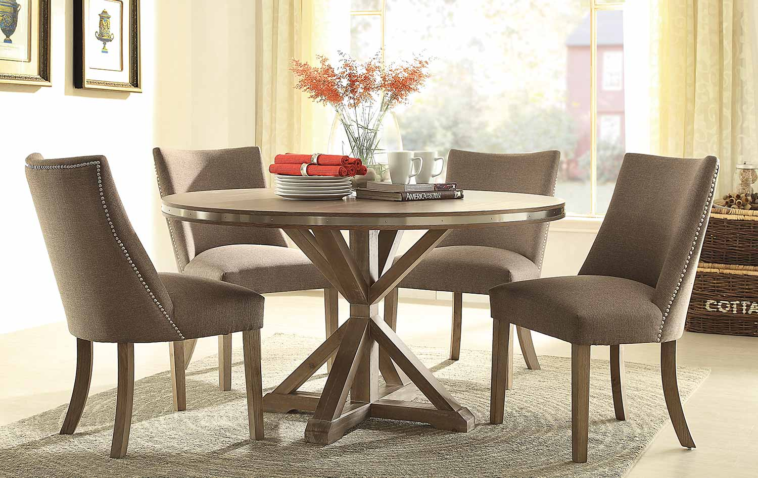 round dining room table sets homelegance beaugrand dining set brown 5177 54 25598