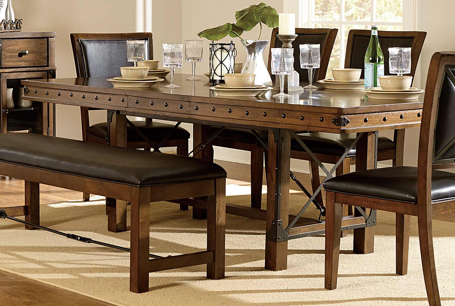 Homelegance Urbana Trestle Dining Table - Burnished Brown