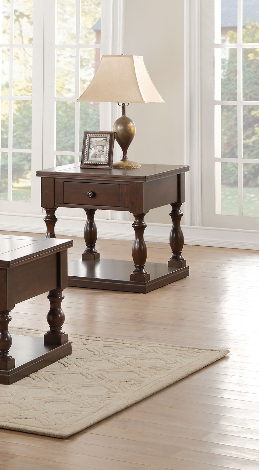 Homelegance Reid End Table with Functional Drawer
