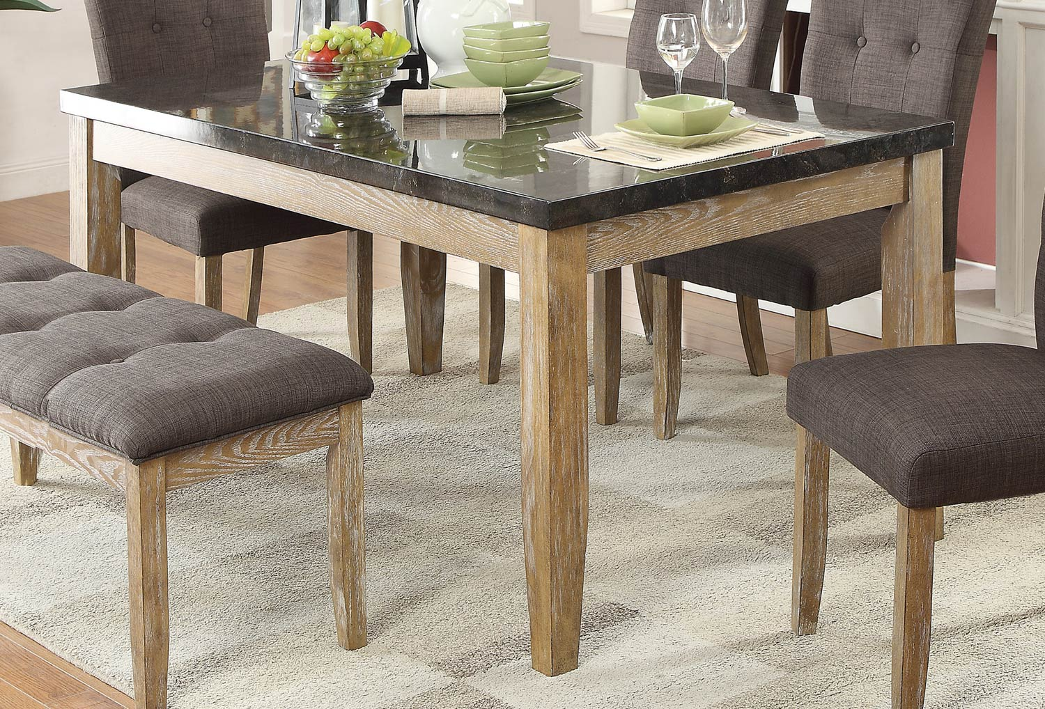 Homelegance Huron Dining Table - Faux Marble Top - Weathered Wood